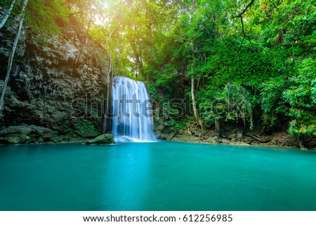Waterfall in tropical forest at Erawan National Park, Thailand
