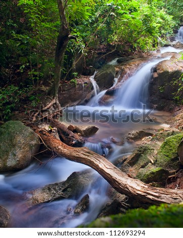 Waterfall in tropical forest. Mountain river, stones with moss and green trees