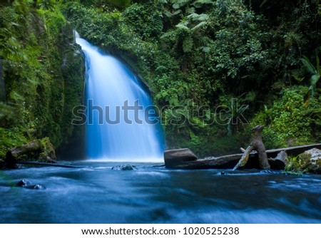 Waterfall in tropical jungle in Mt Kenya National Park. #1020525238