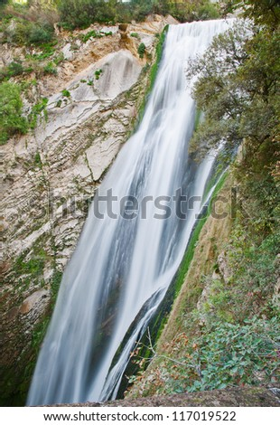 Waterfall in Villa Gregoriana in Tivoli in Italy