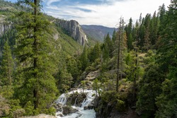 Waterfall in Yosemite Valley, landscape in national parks