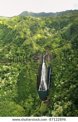 Waterfall, Kauai, Hawaii,  USA - stock photo