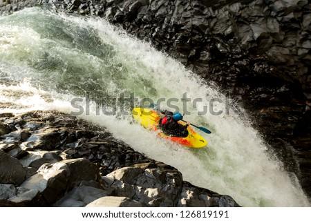 Waterfall kayak jump, aprox hight 45 feet high