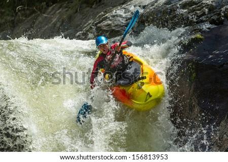 Waterfall kayak jump , Sangay National Park, Ecuador