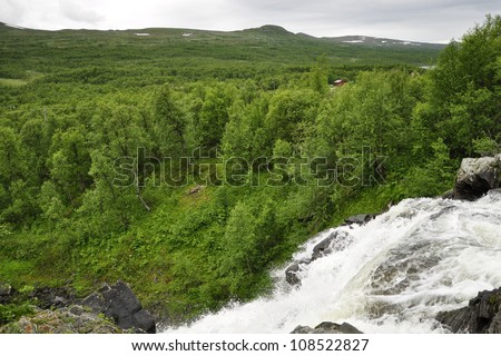 Waterfall landscape in north of Sweden