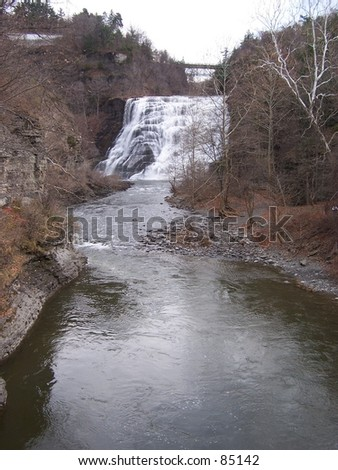 Waterfall located in Ithaca New York, Note Mill on above the fall.