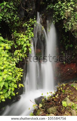 Waterfall, long time exposed, La Palma, Canary Islands, Spain