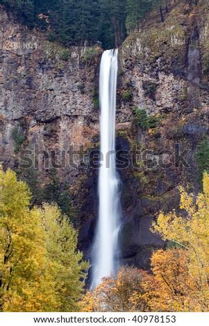 waterfall - multnomah falls near Portland, Oregon. Second-highest year-round waterfall in the US.