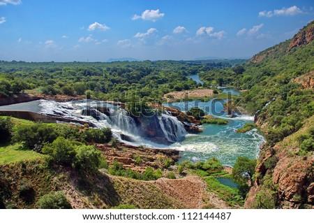 Waterfall of Crocodile river Hartbeespoortdam South Africa