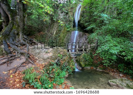 Waterfall on creek in forest
