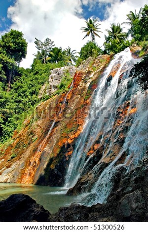 Waterfall on the island of Koh Samui in Thailand - stock photo