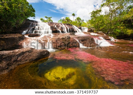 Waterfall on the red Cristales river, Colombia, jungle