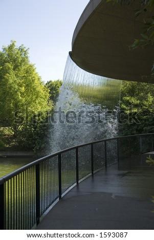 waterfall over bridge