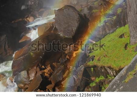 Waterfall rainbow over Vernal Fall Mist Trail, Yosemite National Park