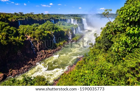 Waterfall river in deep forest top view landscape. Forest river waterfalls view. Waterfalls in forest river. Forest river waterfalls landscape