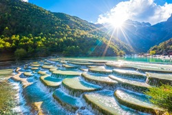 Waterfall river mountain landscape,Blue Moon Valley,Lijiang,China.