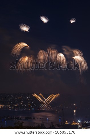 Waterfall shaped Fireworks in Seattle Washington on summer night