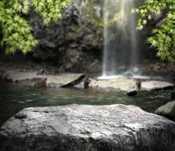 Waterfall, stream and rocks  Product background