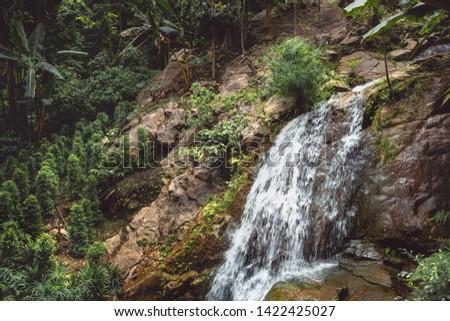 Waterfall ; water splash or splash water ,Water cascade on mountain rocks, wild nature