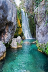 Waterfall with a silk effect on the water in a beautiful natural place