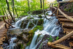 waterfalls and boardwalk at plitvice national park