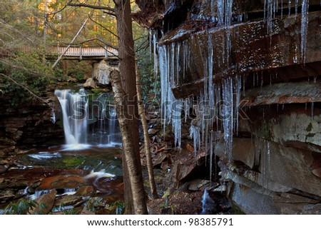 Waterfalls and icicles in the mountains