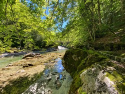 waterfalls and the riverbed of the Arazas river in the Ordesa y Monte Perdido national park, in the Aragonese Pyrenees, located in Huesca, Spain. view