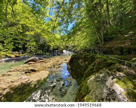 waterfalls and the riverbed of the Arazas river in the Ordesa y Monte Perdido national park, in the Aragonese Pyrenees, located in Huesca, Spain. view Zdjęcia stock ©