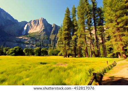 Waterfalls at the Yosemite National Park i