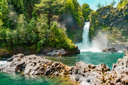 Waterfalls cascading in the beautiful south of Chile.