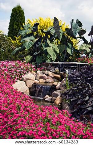 waterfalls in a rock garden