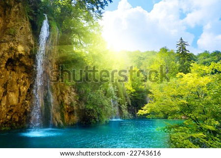 waterfalls in deep forest #22743616
