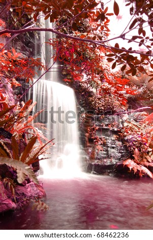 waterfalls in deep forest autumn season