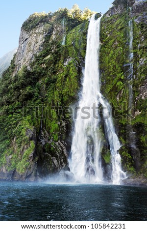 Waterfalls in Fiordland, southern New Zealand.