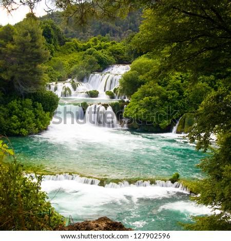 Waterfalls in Krka National Park, Croatia #127902596