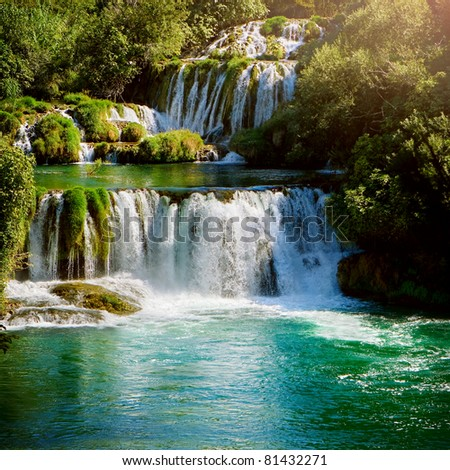 Waterfalls in national park Krka National Park Croatia