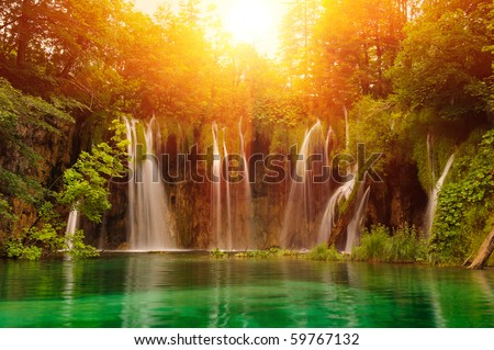 Waterfalls in national park. Plitvice, Croatia