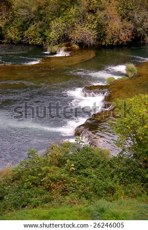 Waterfalls in the Krka national park in Croatia in autumn - stock photo