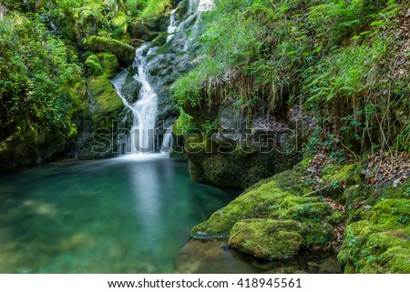 Waterfalls near the source of Zirauntza river, Alava (Spain) #418945561