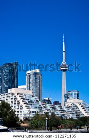 Waterfront at Toronto with Canada Tower as background