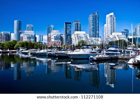 Waterfront at Toronto with high rise building as background