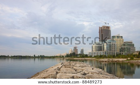 Waterfront buildings at Humber Bay, in Toronto, Canada.