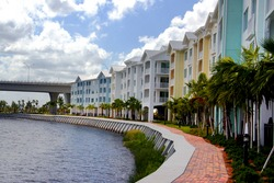 Waterfront condo buildings.