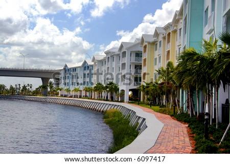 Waterfront condo buildings.