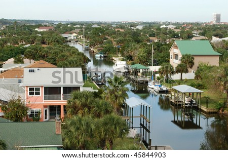 Waterfront homes in Florida, USA