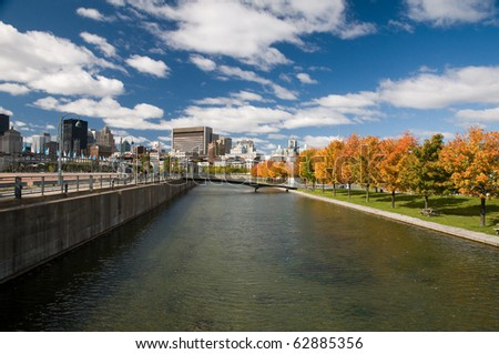 Waterfront in fall colors,Montreal