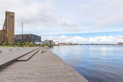 Waterfront of Aalborg with the bridge to Noerresundby