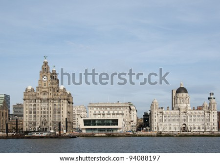 Waterfront of Liverpool showing the liver building and the Port of Liverpool building