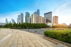 Waterfront Park Plaza and modern city buildings in Qingdao, China
