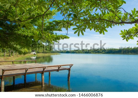Waterfront pavilion, Waterfront pavilion and blue sky,Waterfront pavilion and Terminalia ivorensis Chev. #1466006876